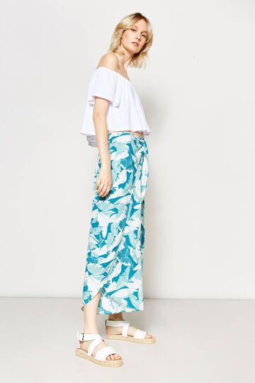 Printed trousers with splits