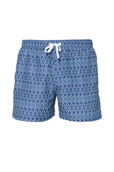 Swim boxer shorts with pattern, Navy Blue, hi-res