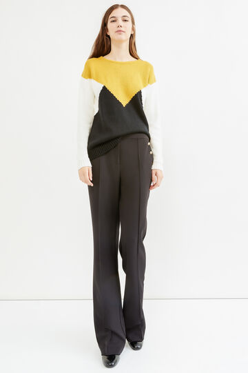 Patterned pullover with boat neck, Black, hi-res