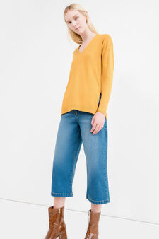V-neck pullover with splits, Ochre Yellow, hi-res
