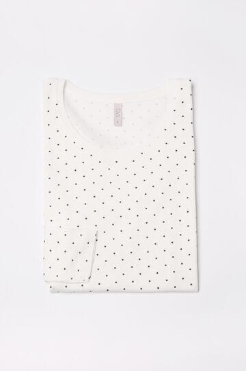 Maglia pigiama puro cotone stampato, Bianco panna, hi-res