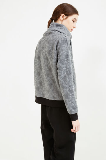Stretch sweatshirt with high neck and raised hearts, Dark Grey Marl, hi-res