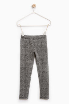Patterned leggings in stretch cotton, Black, hi-res