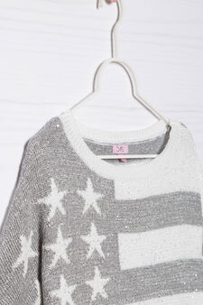 Knitted pullover with sleeves to elbow, White/Grey, hi-res