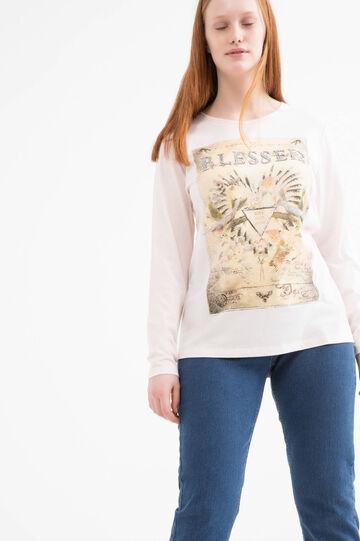 T-shirt stretch con stampa Curvy, Rosa, hi-res