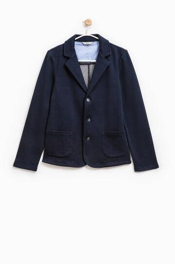 Giacca elegante in cotone tre bottoni, Blu, hi-res