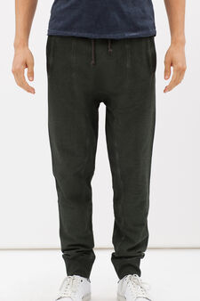 Joggers in 100% cotton with faded look, Green, hi-res