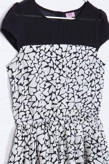 Short-sleeved dress with heart print., Black/White, hi-res