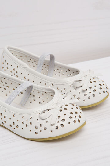 Ballerina flats with openwork upper, White, hi-res
