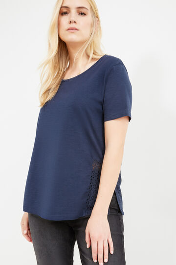 T-shirt cotone spacchi e pizzo Curvy, Blu navy, hi-res