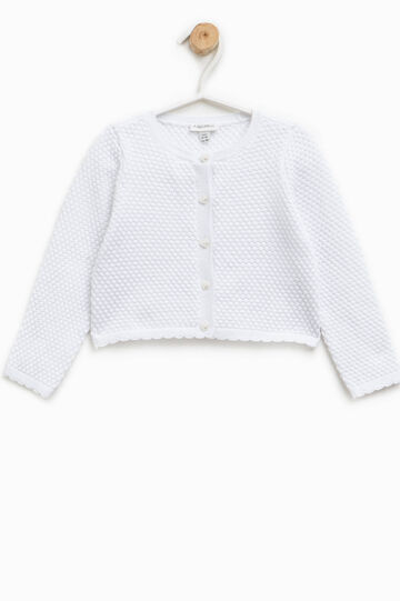 Knitted cardigan with heart-shaped buttons, White, hi-res