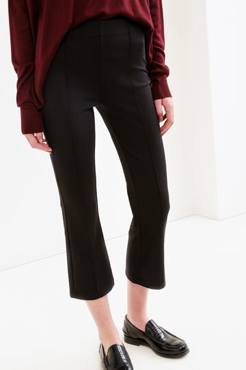 Leggings crop misto viscosa stretch, Nero, hi-res