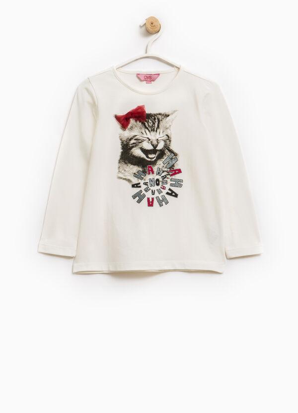 Stretch cotton T-shirt with glitter print | OVS