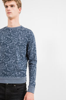 Felpa misto cotone stampa floreale, Blu melange, hi-res