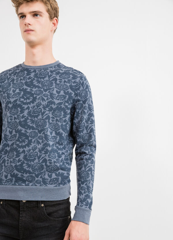 Cotton blend sweatshirt with floral print | OVS