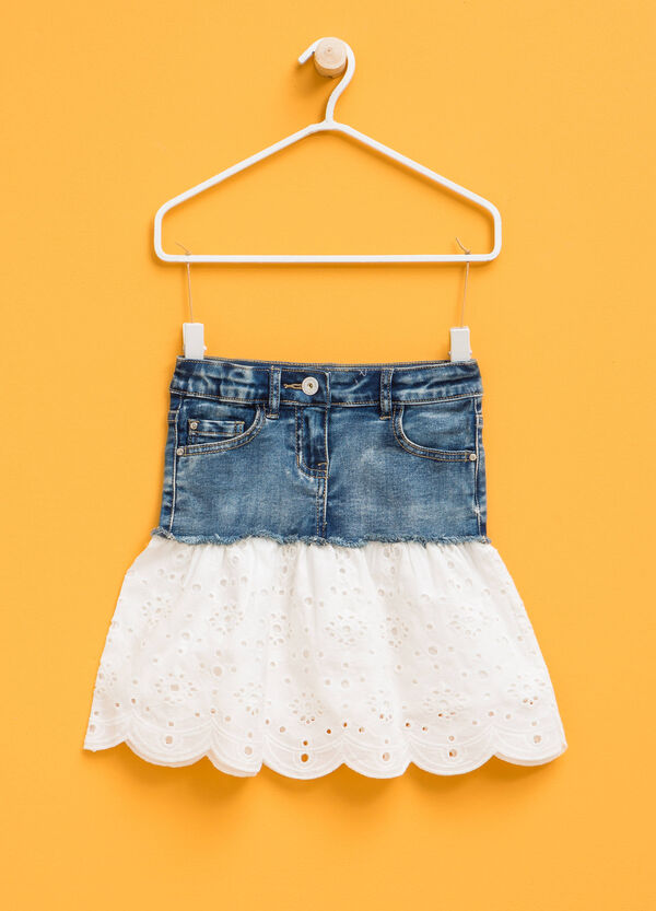 Denim skirt with lace | OVS