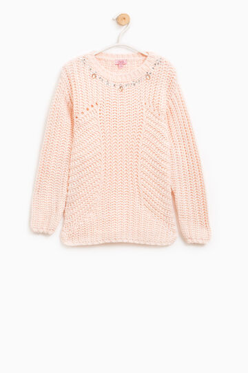 Pullover tinta unita tricot con strass, Rosa, hi-res