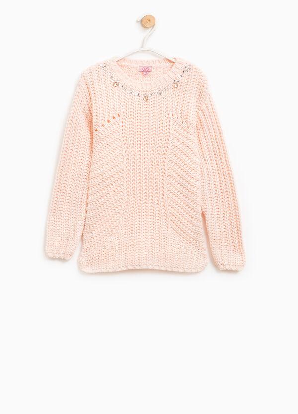 Pullover tinta unita tricot con strass | OVS