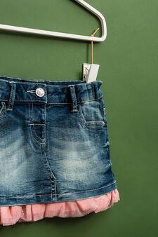 Stretch denim skirt with ruffles, Denim, hi-res