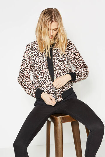 Jacket with all-over print, White/Brown, hi-res