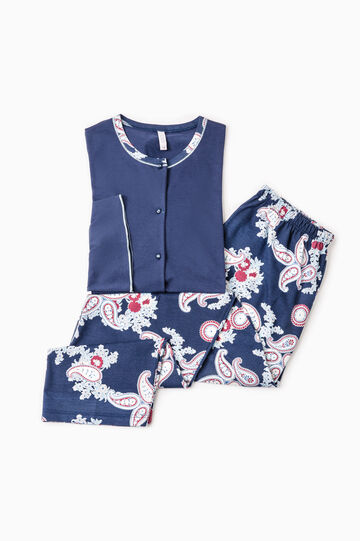 Paisley pattern cotton pyjamas, Navy Blue, hi-res