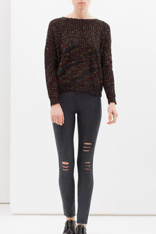 Stretch jeggings with rips, Black, hi-res