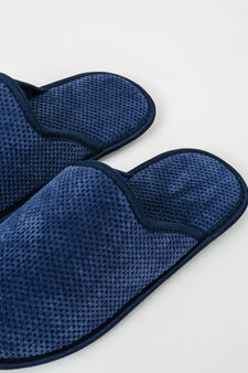 Slippers with raised dot design, Navy Blue, hi-res