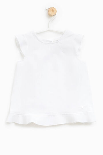 Blusa sin mangas con volantes, Blanco, hi-res