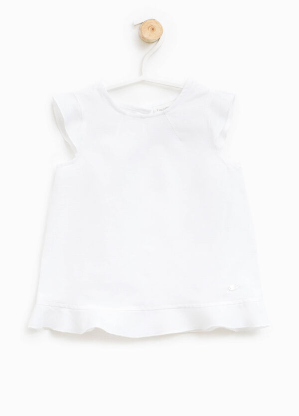 Sleeveless shirt with flounces | OVS