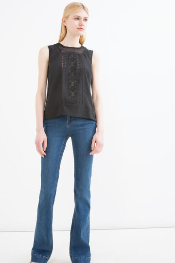 Sleeveless blouse with openwork inserts, Black, hi-res