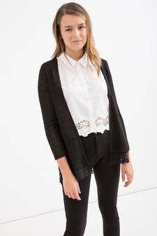 Teen stretch cardigan with lace, Black, hi-res