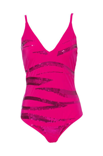One-piece stretch swimsuit with sequins, Fuchsia, hi-res