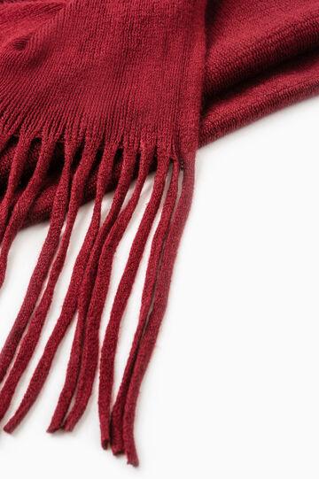 Sciarpa tricot tinta unita con frange, Rosso, hi-res