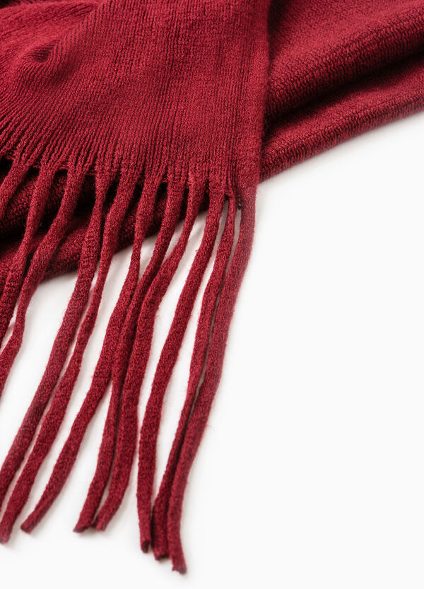 Solid colour knitted scarf with fringe | OVS