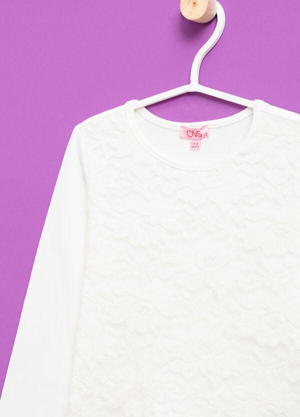 T-shirt cotone stretch con pizzo | OVS