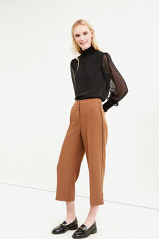 Stretch cropped trousers with crease, Brown, hi-res