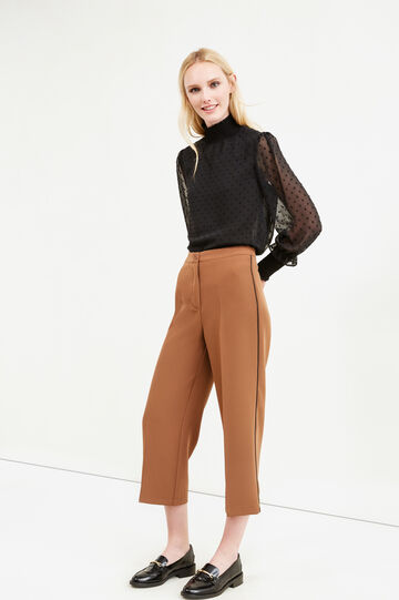 Pantaloni crop stretch con piega, Marrone, hi-res