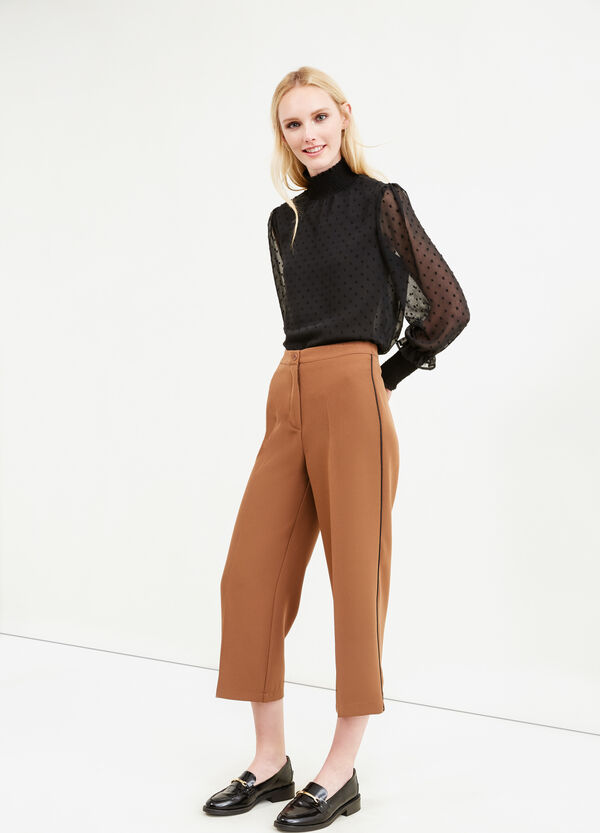 Stretch cropped trousers with crease | OVS