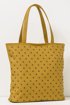 Shoulder bag with studs, Mustard Yellow, hi-res