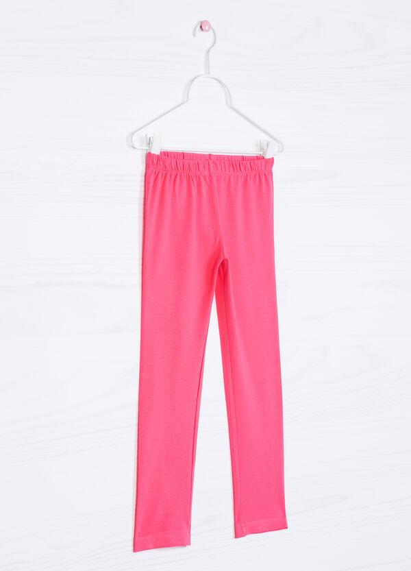 Solid colour stretch cotton leggings | OVS