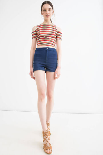 High-waist stretch denim shorts