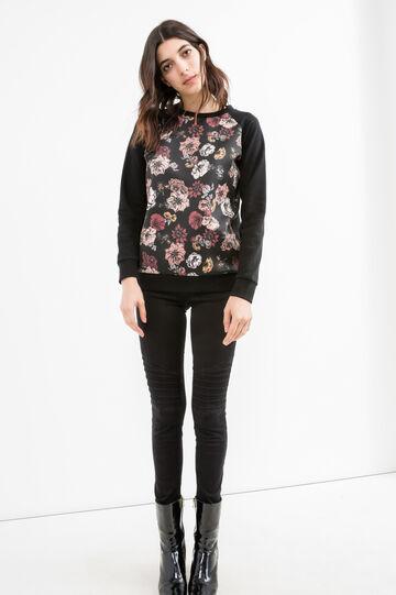 Sweatshirt with maxi floral print, Black, hi-res