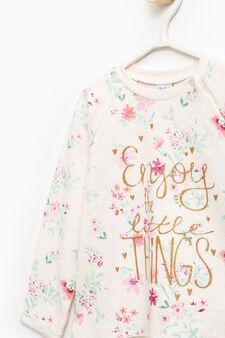 Cotton sweatshirt with floral pattern, Beige, hi-res