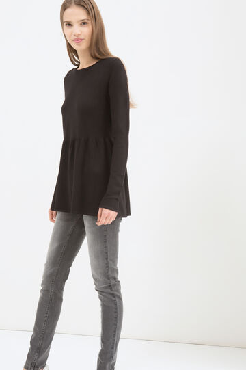 Solid colour T-shirt with flared waist, Black, hi-res