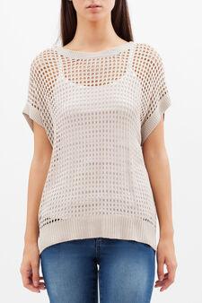 Openwork sweater, Beige, hi-res