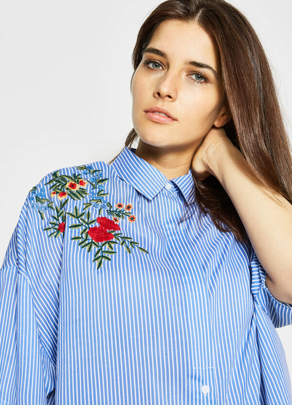 Curvy striped shirt with embroidery | OVS