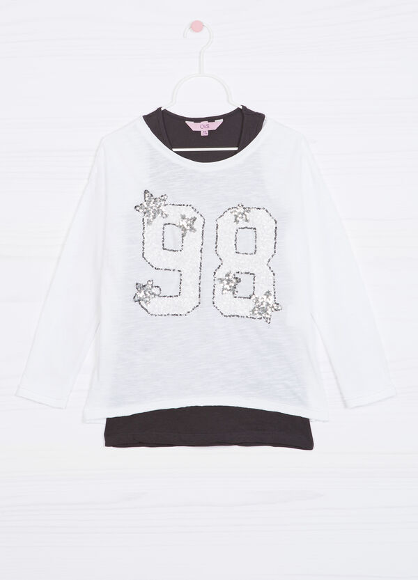 T-shirt in 100% cotton with inner top. | OVS