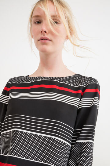 Striped blouse with long sleeves, Black, hi-res