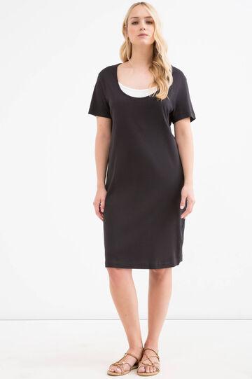 Curvy solid colour 100% cotton dress, Black, hi-res