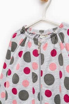 100% cotton patterned sweatshirt with zip, Grey Marl, hi-res